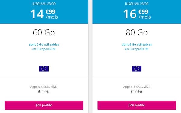Deux autres forfaits 4G proposés en promotion dans le catalogue de B&YOU