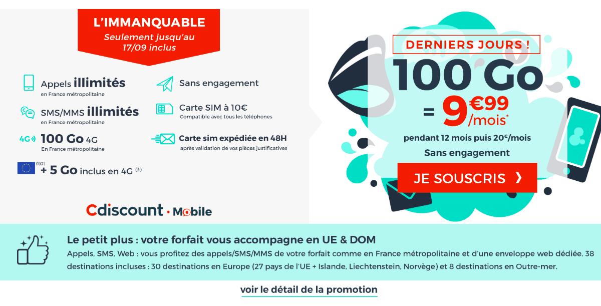 Le forfait de Cdiscount Mobile pour 100 Go de données mobiles par mois