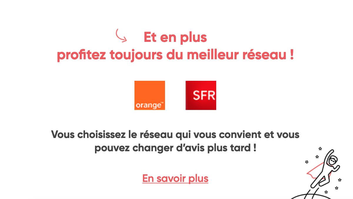 Forfait pas cher sur réseau SFR et Orange.
