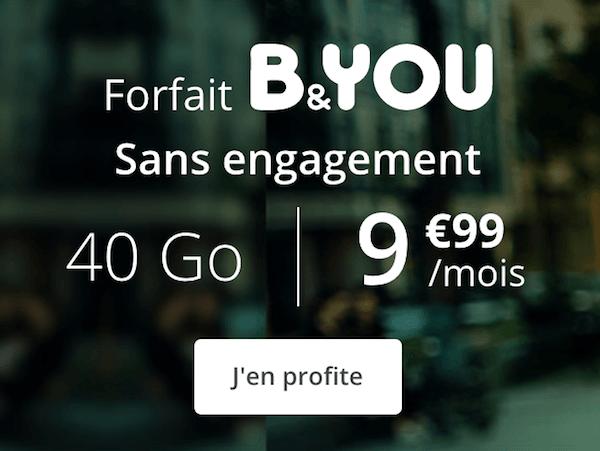 Le forfait B&YOU à 9,99€ pour un total de 40 Go de data