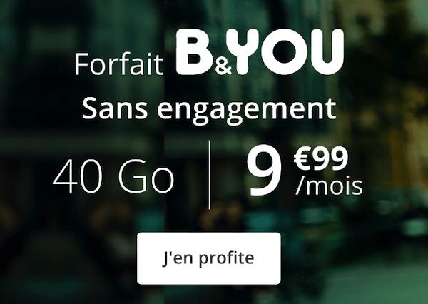 10€ pour 40 Go, le forfait 4G de B&YOU en promotion