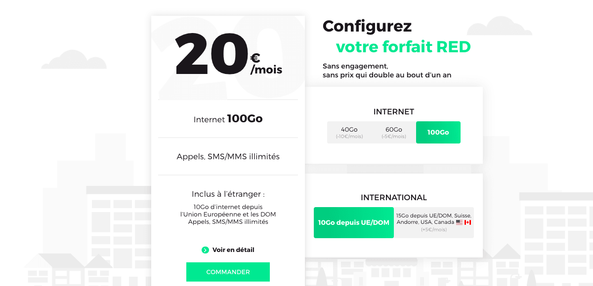 Un forfait 100 Go à 20€ avec l'offre de RED by SFR