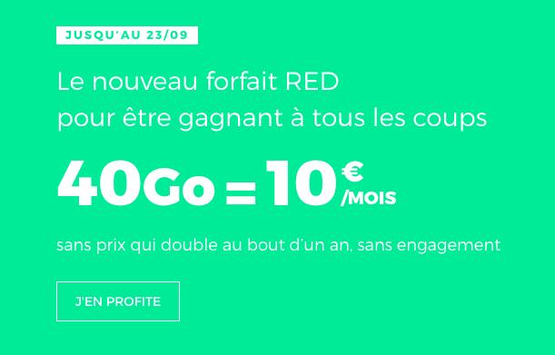 le forfait 4G à 10€ de RED by SFR