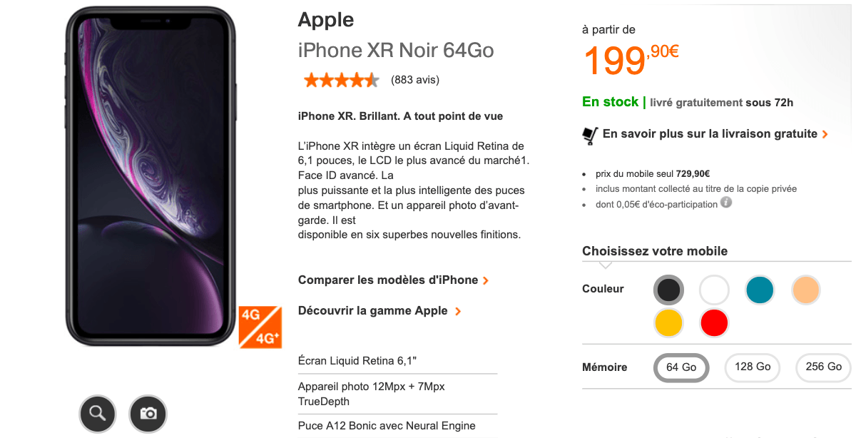 L'iPhone XR en promotion chez Orange