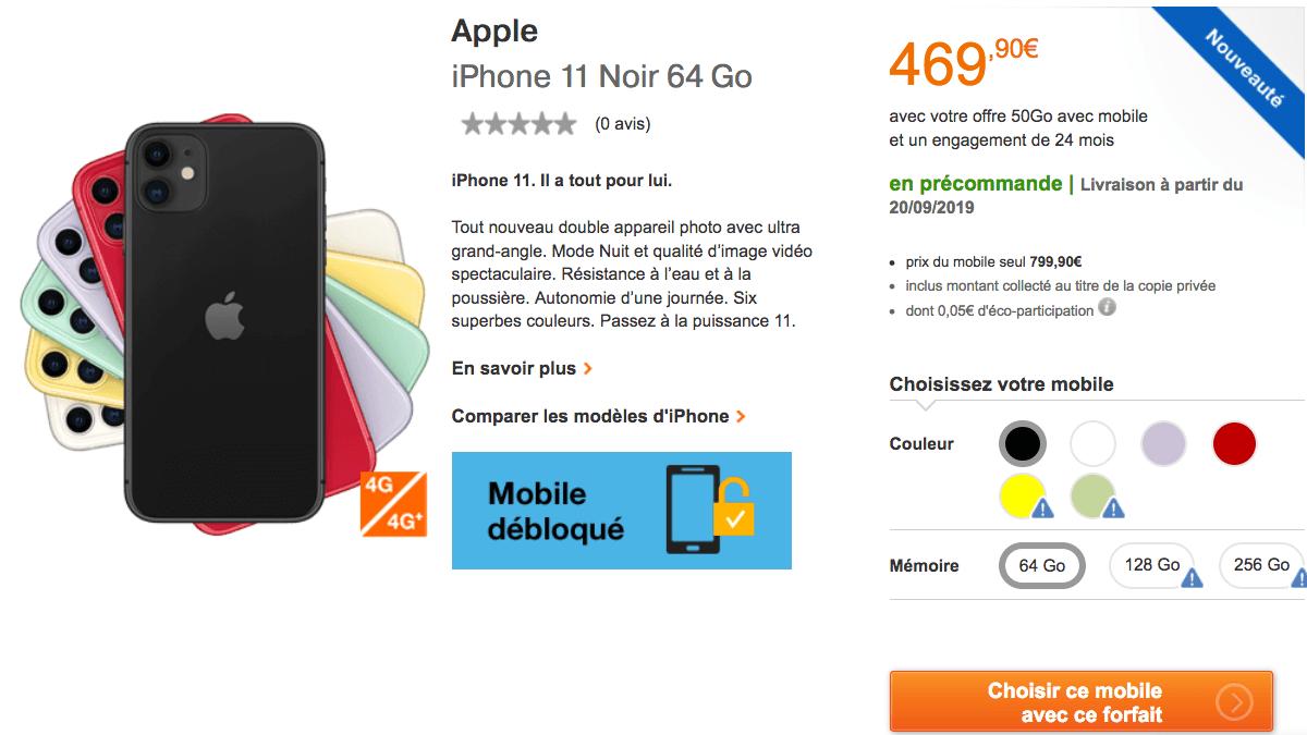 iPhone 11 en précommande chez Orange.