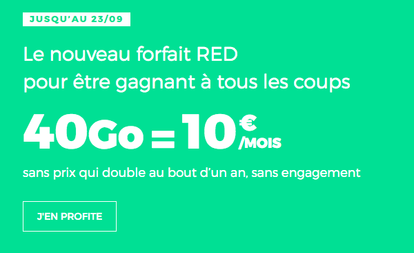 Promo forfait 4G chez RED by SFR