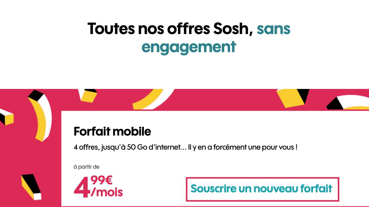 Forfait mobile Sosh en promotion.