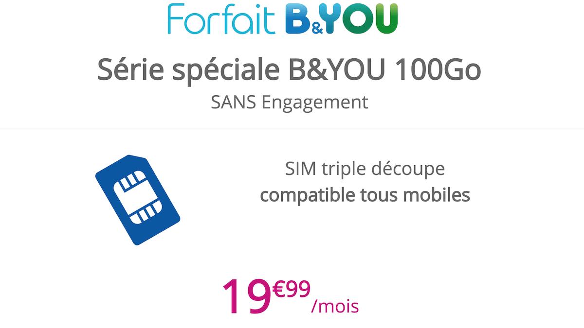 100 Go pour 19,99€/mois avec le dernier forfait 4G en promo de B&YOU