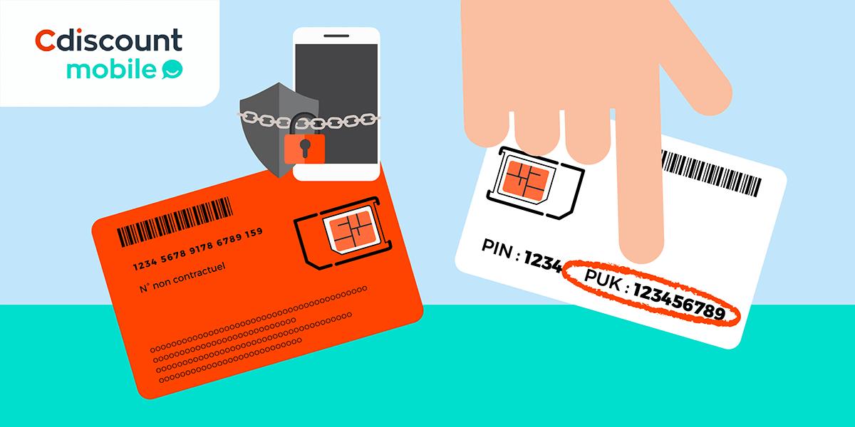 Code PUK Cdiscount Mobile derrière support carte SIM.