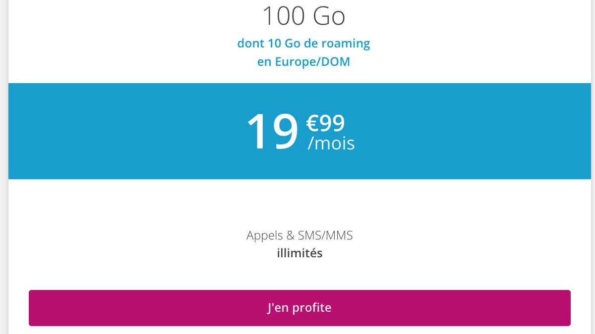 Forfait 100 Go de 4G chez B&YOU.