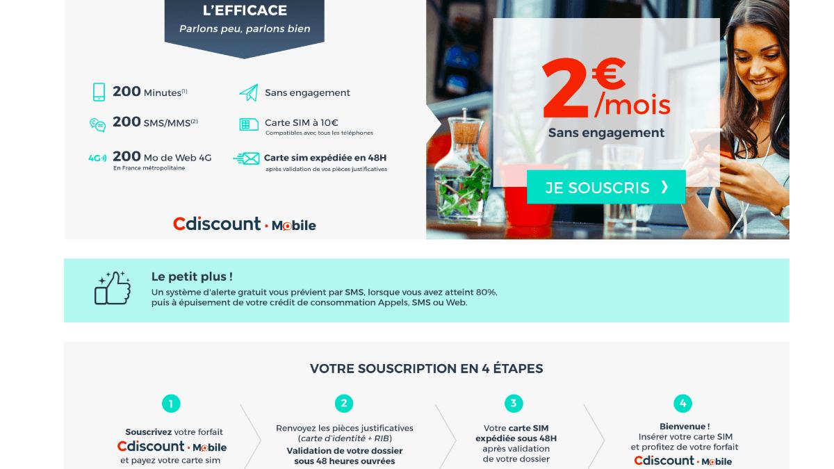 Le forfait 2€ proposé en ce moment par Cdiscount Mobile