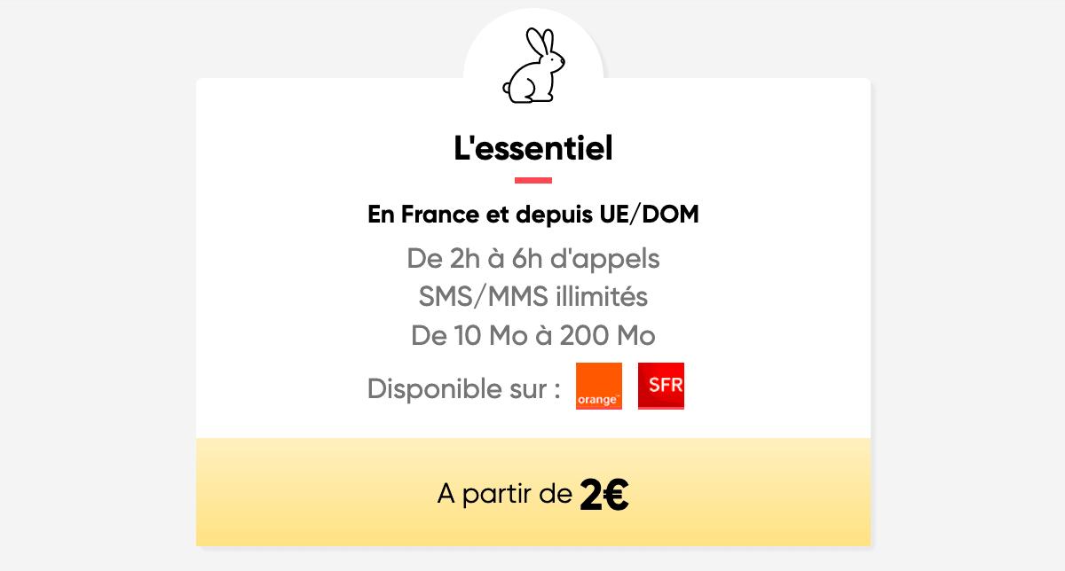 Le forfait 2€ de Prixtel avec sa formule l'Essentiel