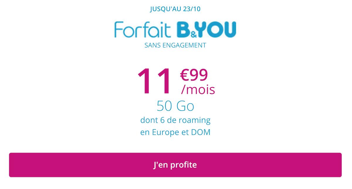 La promotion de B&YOU pour un total de 50 Go de data
