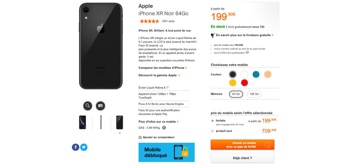 La proposition d'Orange pour un iPhone XR à prix réduit