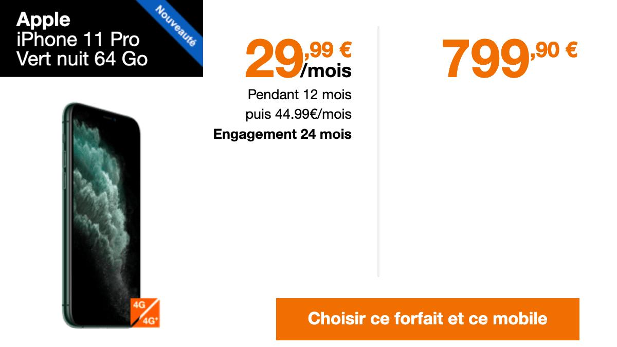 Forfait Orange pour acheter iphone 11 Pro pas cher