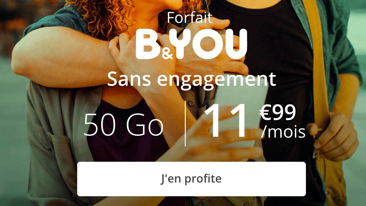 50 Go à moins de 12€ par mois avec le forfait en promo de B&YOU