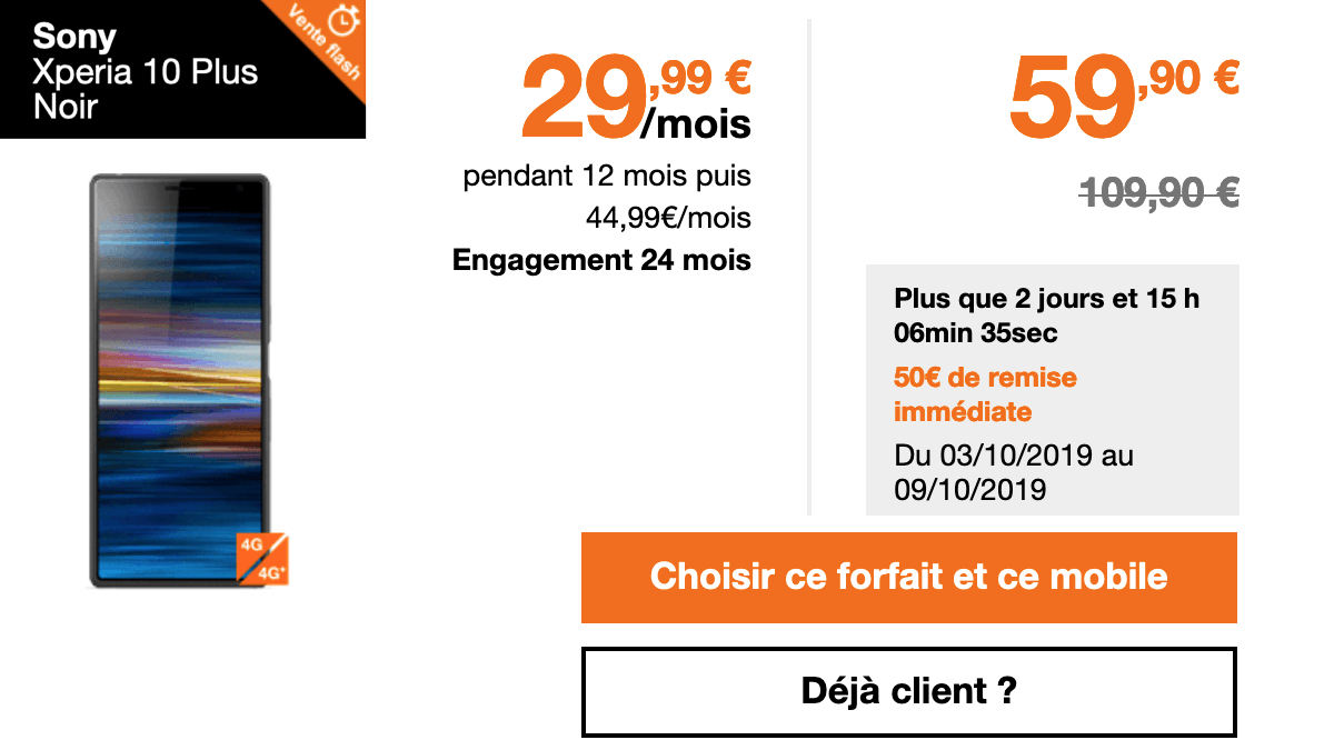 Vents Flash Orange promotion sur le Xperia 10 Plus de Sony.