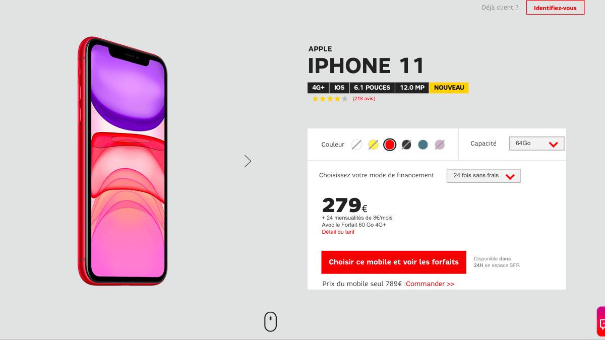 La promotion de SFR sur l'iPhone 11