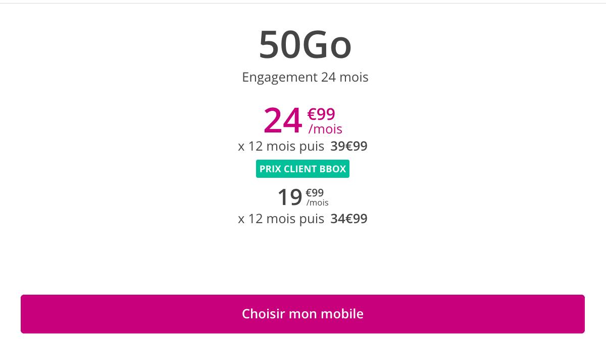 Sensation 50 Go en promo chez Bouyges.