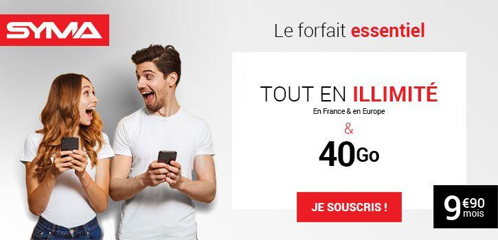 Forfait mobile 40 Go pas cher Syma Mobile.