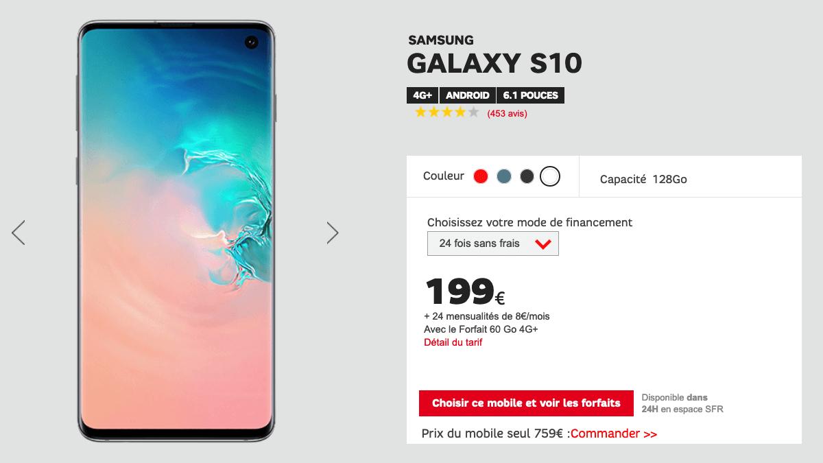 SFR Samsung Galaxy S10 en promotion.