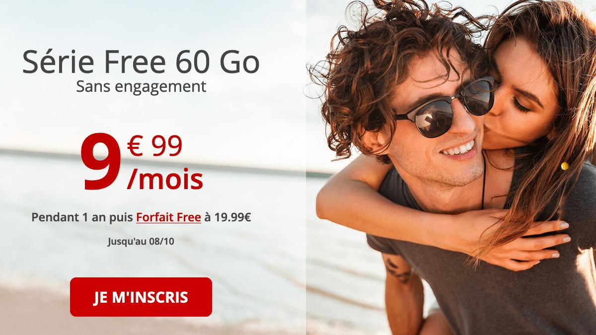 Série Free 60 Go forfait 4G en promo.