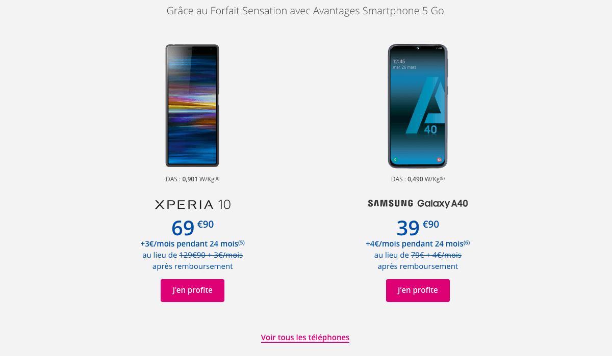 les smartphones en promotion