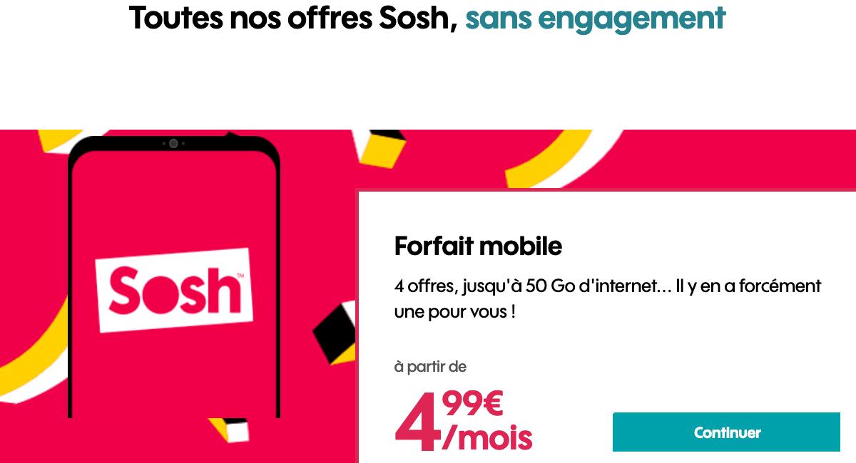 Sosh forfait 4G en promotion.