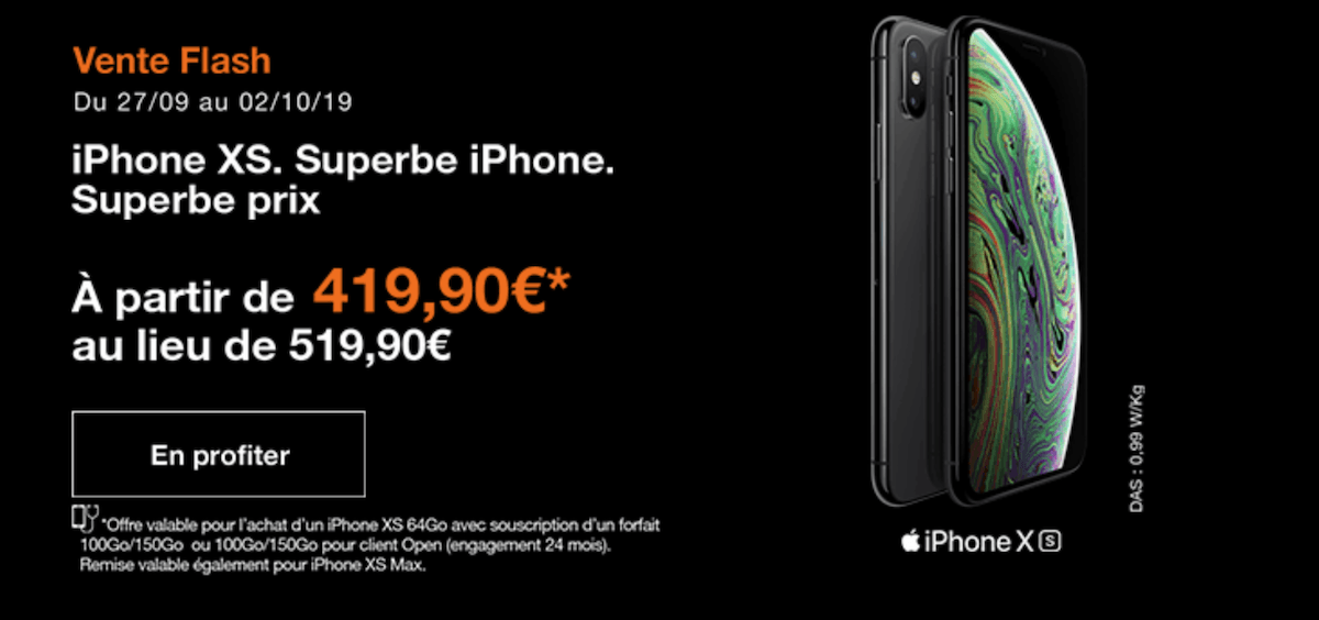 L'iphone XS à prix réduit pendant la vente flash Orange