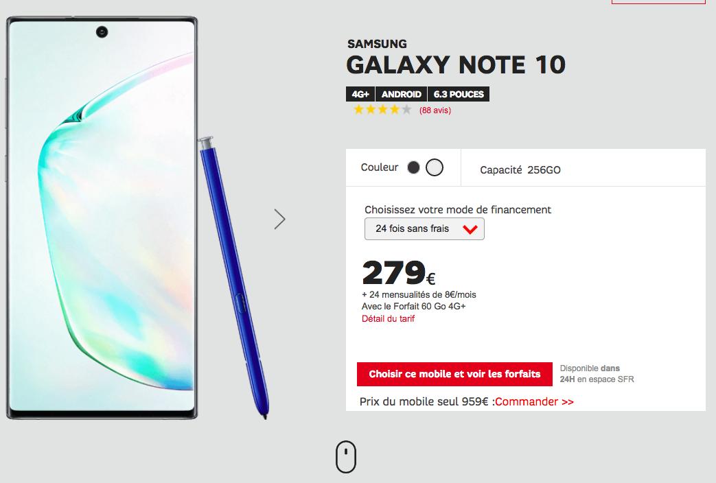Samsung Galaxy Note10 avec SFR