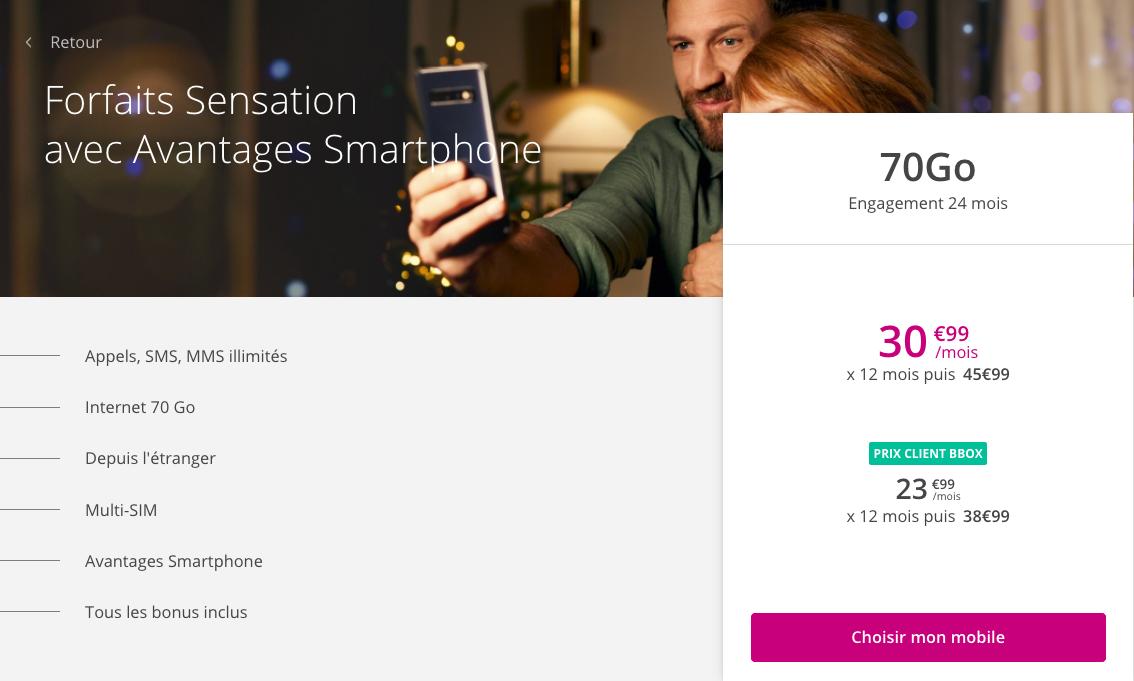 Sensation 70 Go de Bouygues Telecom