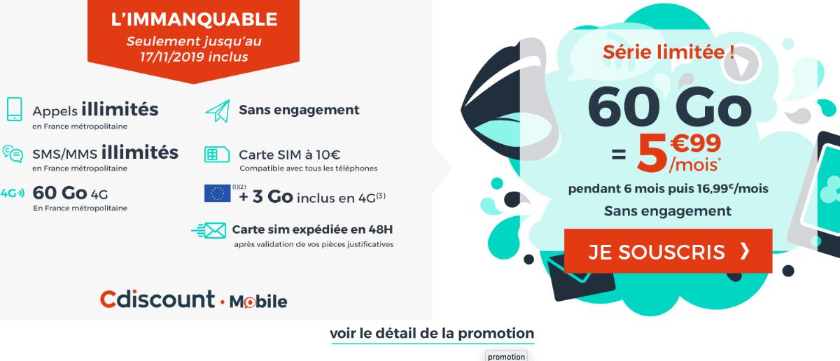 Cdiscount Mobile promotion forfait pas cher.