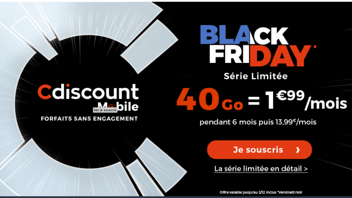 Cdiscount Mobile promo Black Friday.