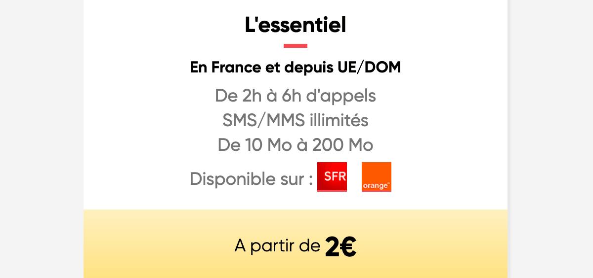 Le forfait de Prixtel à partir de 2€/mois.