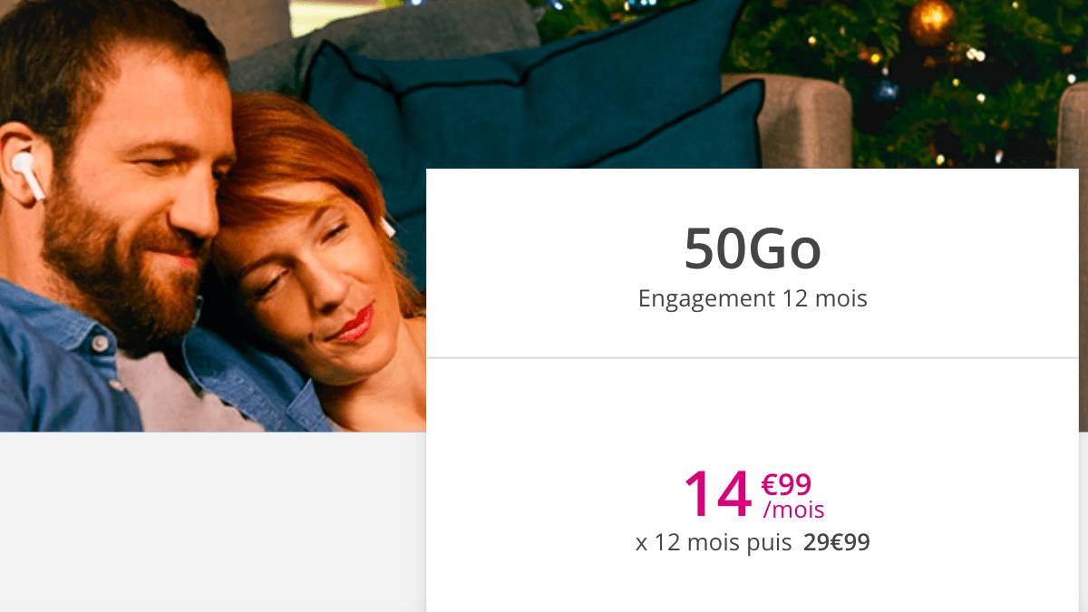 L'offre 50 Go de Bouygues Telecom commercialisée à 14,99€/mois