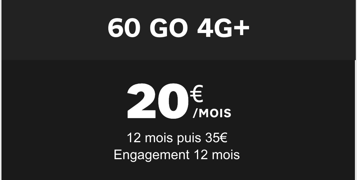 Le forfait 4G de SFR proposé à seulement 20€/mois