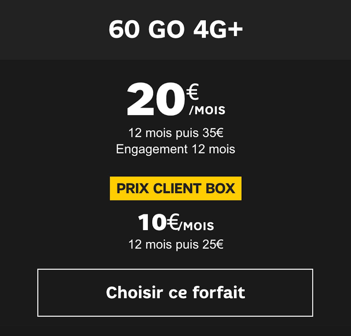 Le forfait SFR à 60 Go est au prix de 20€ par mois avec engagement sur un an