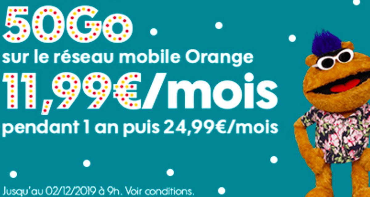 Le forfait sans engagement de Sosh à 11,99€/mois pour 50 Go de data