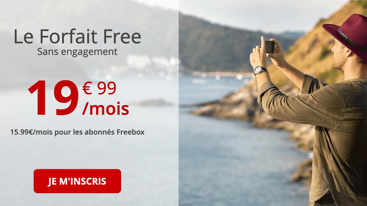 Forfait 4G de Free mobile en promotion.