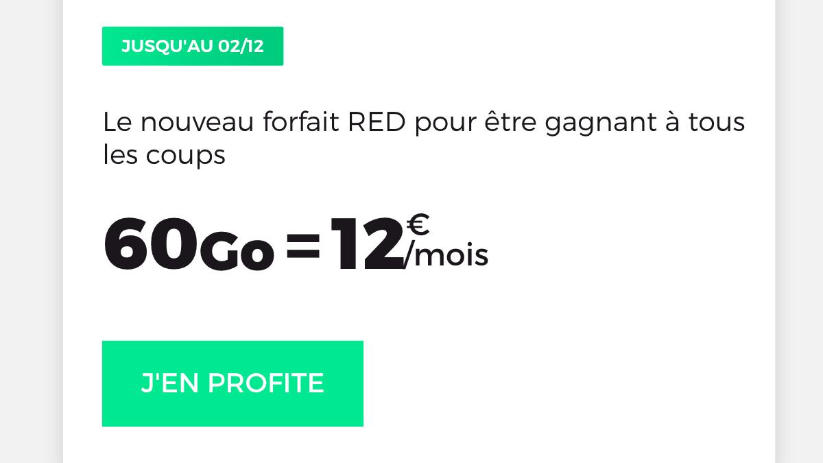 La promotion RED by SFR sur un forfait 60 Go