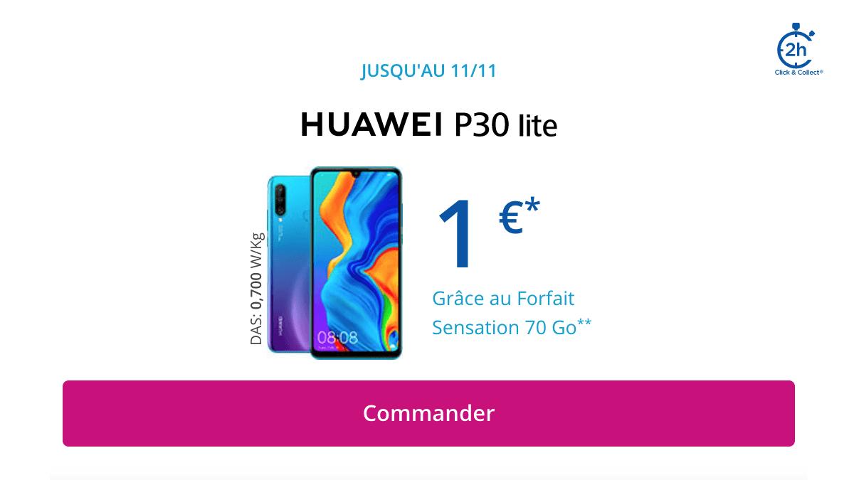 Le Huawei P30 Lite à 1€ chez Bouygues Telecom.