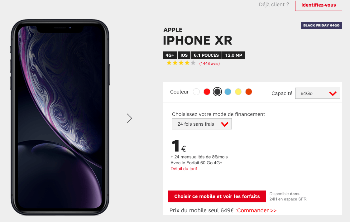 iPhone XR avec 60 Go