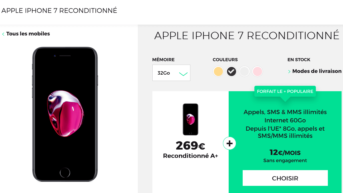 iphone 7 reconditionné RED by SFR.