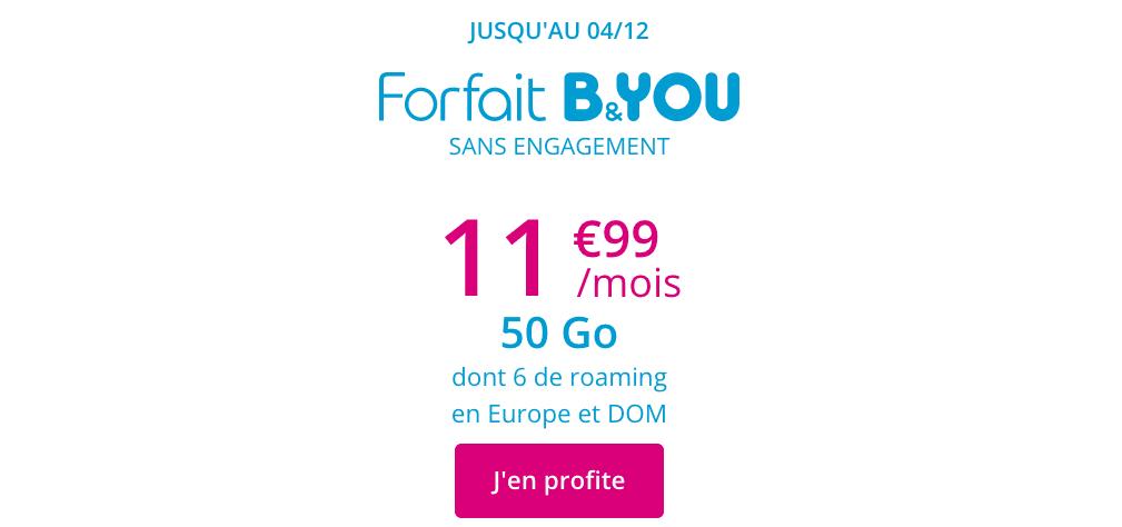 La promotion de B&YOU sur un forfait 50 Go