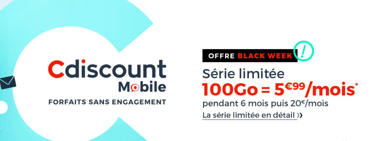 La promotion de Cdiscount Mobile pour un forfait 4G 100 Go à prix réduit