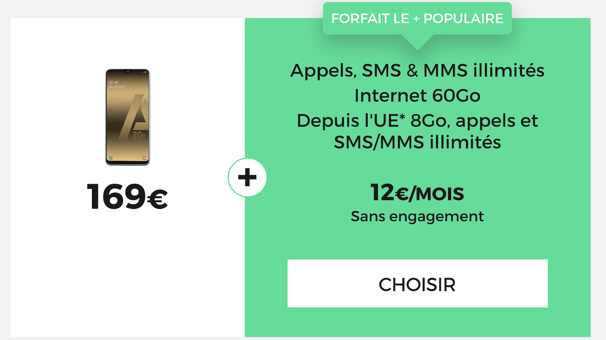 RED by SFR propose le Galaxy A20e à 169€