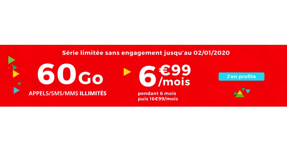 Un forfait mobile pas cher avec 60 Go de données mobiles est disponible chez Auchan Telecom.