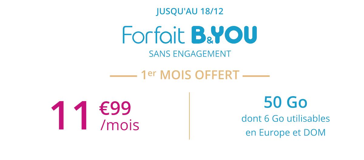 La promotion B&YOU pour un forfait 50 Go à prix réduit