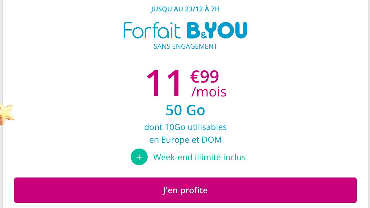 B&YOU promo forfait 4G Noël.