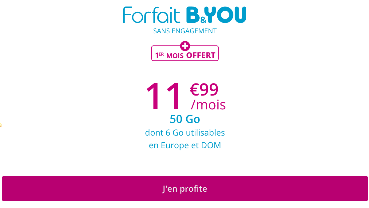 B&YOU 50 Go promo forfait 4G.
